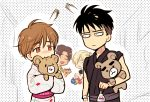 4boys biting black_hair blonde_hair brown_eyes brown_hair closed_eyes freckles japanese_clothes ji_guang-hong kimono leo_de_la_iglesia male_focus mizota_(rovel) multiple_boys open_mouth otabek_altin smile stuffed_animal stuffed_toy teddy_bear water_balloon yukata yuri!!!_on_ice yuri_plisetsky