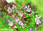 2boys 6+girls artist_name azuki_azusa bag barefoot black_hair black_legwear black_skirt blonde_hair blue_eyes blue_neckwear blush bow brown_eyes brown_hair character_request closed_eyes duffel_bag eating emanuella_porlallora english eyebrows_visible_through_hair facing_another grass green_eyes hair_bow hair_ornament hairclip heart heart-shaped_pupils hentai_ouji_to_warawanai_neko. highres kantoku_(style) kneehighs kneeling looking_at_another looking_at_viewer lying maimaki_mai multiple_boys multiple_girls nshot1402 on_back open_mouth outdoors parted_lips pink_hair plaid plaid_skirt ponytail rabbit red_bow red_eyes red_skirt shoes_removed short_hair sitting skirt smile symbol-shaped_pupils thigh-highs tree tsutsukakushi_tsukiko tsutsukakushi_tsukushi twintails wariza white_bow white_legwear yokodera_youto