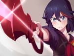 1girl black_hair blue_eyes blush closed_mouth collarbone eyebrows_visible_through_hair heart heart-shaped_pupils highres holding holding_sword holding_weapon kill_la_kill kukie-nyan looking_at_viewer matoi_ryuuko multicolored_hair redhead short_hair solo sword symbol-shaped_pupils weapon