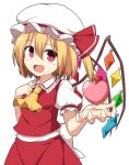 1girl ascot blonde_hair commentary enushi_(toho193) fang flandre_scarlet hat hat_ribbon heart highres looking_at_viewer mob_cap open_mouth puffy_short_sleeves puffy_sleeves red_eyes red_ribbon ribbon short_hair short_sleeves side_ponytail touhou wings yellow_neckwear