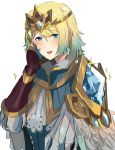 1girl absurdres blonde_hair blue_eyes blue_hair crown dotentity earrings feather_trim fire_emblem fire_emblem_heroes fjorm_(fire_emblem_heroes) gradient gradient_hair highres jewelry looking_at_viewer multicolored_hair short_hair simple_background smile white_background