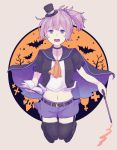 1girl :d aoba_(kantai_collection) black_legwear blue_eyes blue_skirt book cape crescent crescent_moon_pin halloween halloween_costume holding holding_book kantai_collection open_mouth pink_hair ponytail shikajima_shika short_hair skirt smile solo thigh-highs
