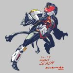 1girl artist_name autobot breasts character_name claws full_body grey_background kamizono_(spookyhouse) legs looking_at_viewer machinery no_humans personification red_eyes sharp_teeth slash_(dinobot) smile solo teeth transformers