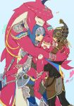 1girl armor blonde_hair blush brother_and_sister closed_eyes dual_persona fish_girl gloves hair_ornament hat highres hug jewelry kandori_makoto link long_hair mipha monster_boy pointy_ears redhead siblings smile the_legend_of_zelda the_legend_of_zelda:_breath_of_the_wild yellow_eyes zora