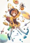 1boy 1girl antenna_hair anxia blush candy card_captor_sakura food green_eyes halloween halloween_costume hat kero kinomoto_sakura long_hair looking_at_viewer magical_girl open_mouth short_hair skirt smile striped striped_legwear thigh-highs wand wings yue_(ccs)