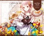 1girl :d apron apron_lift bangs bare_shoulders black_ribbon blonde_hair blue_eyes blueberry blurry breasts cleavage collarbone cover depth_of_field doughnut dress english flower food frilled_dress frills fruit hair_ornament hair_ribbon head_tilt holding holding_tray lifted_by_self long_hair looking_at_viewer off-shoulder_dress off_shoulder open_mouth original petals plate ribbon short_sleeves small_breasts smile solo star strawberry tray tulip waffle waitress white_apron yuzuyomogi