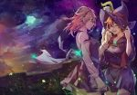 2girls absurdres aqua_eyes blue_moon brick_wall brown_hair clouds cloudy_sky croix_meridies dress full_moon glasses happy hat highres kagari6496 little_witch_academia long_sleeves looking_at_another moon moonlight multiple_girls night night_sky outdoors petals pink_hair pleated_skirt purple_dress shiny_chariot shirt short_dress skirt sky sparkle standing star_(sky) starry_sky white_shirt wind witch_hat
