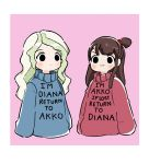 2girls cosplay diana_cavendish english gravity_falls highres kagari_atsuko little_witch_academia mabel_pines mabel_pines_(cosplay) multiple_girls rey_2911 sweater