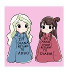 2girls cosplay diana_cavendish english gravity_falls highres kagari_atsuko little_witch_academia mabel_pines mabel_pines_(cosplay) multiple_girls rey_2911 sweater