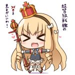 1girl azur_lane blush chibi commentary_request crown detached_sleeves drill_hair frilled_skirt frills gloves hairband hana_kazari heart holding light_brown_hair long_hair looking_at_viewer mini_crown queen_elizabeth_(azur_lane) scepter skirt solo thigh-highs translation_request twin_drills white_background white_gloves white_legwear zettai_ryouiki