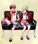 2boys alternate_costume blonde_hair blue_eyes blush blush2boys brown_hair crossdressing dress enmaided highres maid maid_headdress mary_janes multiple_boys original shoes thigh-highs watermark white_legwear yoikowaruiko