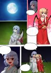 2girls absurdres bat_wings blue_hair blush breasts cleavage closed_eyes comic commission dungbae flandre_scarlet full_moon highres japanese_clothes kimono large_breasts leg_hug long_hair long_sleeves looking_at_another moon multiple_girls night nose_blush older on_grass outdoors red_eyes red_kimono remilia_scarlet short_hair siblings side_ponytail sisters sitting smile speech_bubble touhou white_kimono wings