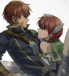 1girl blush brother_and_sister cape dress elbow_gloves fire_emblem fire_emblem:_rekka_no_ken gloves green_eyes kometubu0712 looking_at_viewer priscilla_(fire_emblem) raven_(fire_emblem) red_eyes redhead short_hair siblings smile