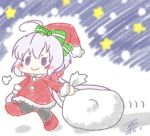 1girl ahoge bag blush_stickers boots chibi dragging hat lavender_hair nekono_maguro pantyhose santa_boots santa_costume santa_hat senki_zesshou_symphogear smile snow solo star twintails yukine_chris