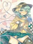 1girl artist_request ass blush breasts commentary_request green_eyes green_hair green_skirt hat heart heart-shaped_pupils heart_of_string komeiji_koishi looking_at_viewer medium_breasts open_mouth skirt solo symbol-shaped_pupils touhou wide_sleeves