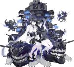 black_hair blue_eyes claws geta gun horns imps japanese_clothes kantai_collection kimono long_hair night_strait_hime_(black) night_strait_hime_(white) official_art shinkaisei-kan teeth weapon white_skin