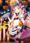 1girl food ghost green_eyes hakusai_(tiahszld) halloween long_hair official_art qurare_magic_library solo