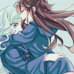 2girls blonde_hair blue_eyes brown_hair diana_cavendish hug kagari_atsuko little_witch_academia multiple_girls yuri