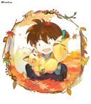 1boy :d atsumi_jun autumn_leaves brown_hair child creature day eyebrows_visible_through_hair food framed hair_between_eyes holding inuyasha kirara_(inuyasha) leaf leaf_on_head long_hair long_sleeves looking_at_another male_focus maple_leaf open_mouth outdoors ponytail sanpaku shippou_(inuyasha) slit_pupils smile squatting tree wagashi