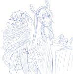 2girls anger_vein blue dragon_tail drawfag gloves highres kobayashi-san_chi_no_maidragon kobayashi_(maidragon) long_hair monochrome multiple_girls ponytail sketch standing tail tooru_(maidragon) washing_dishes yuri