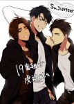 3boys black_hair blue_eyes brown_eyes brown_hair grin heart hood hoodie jean-jacques_leroy leo_de_la_iglesia male_focus mizota_(rovel) multiple_boys one_eye_closed otabek_altin smile translation_request yuri!!!_on_ice