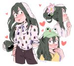 1girl alternate_hair_length alternate_hairstyle animal_hat asui_tsuyu baseball_cap black_hair blush boku_no_hero_academia breasts casual collage commentary constricted_pupils fashion flower frog_girl frog_hat hair_bun hair_flower hair_ornament hat heart long_hair low-tied_long_hair rii_abrego sleeves_pushed_up small_breasts solo