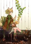 1girl :d acorn animal animal_ears asymmetrical_hair autumn_leaves bangs boots braid brown_eyes brown_footwear cape chair dress fox fox_ears fox_girl fox_tail frilled_dress frills green_hair green_legwear green_scarf hair_ornament highres jack-o'-lantern leaf leaf_hair_ornament leg_up long_hair long_sleeves looking_at_viewer maple_leaf multiple_tails mushroom okishiji_en open_mouth original pumpkin scarf single_braid sitting smile socks solo tail wooden_floor wooden_wall