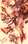 5girls :d ass azur_lane belfast_(azur_lane) black_legwear black_panties blonde_hair braid chains chibi collar commentary_request crown detached_sleeves dress elbow_gloves french_braid garter_belt gloves hair_ribbon hairband hat holding holding_sword holding_weapon illustrious_(azur_lane) long_hair looking_at_viewer machinery maid maid_headdress mini_crown multiple_girls open_mouth panties queen_elizabeth_(azur_lane) ramune_(ramunepod) red_eyes ribbon runway scepter silver_hair simple_background smile sparkle sun_hat sword tri_tails turret twintails underwear vampire_(azur_lane) violet_eyes warspite_(azur_lane) weapon white_dress white_gloves white_hair