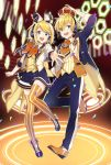 1boy 1girl alternate_costume aqua_eyes blonde_hair booota boots bow crown full_body headset highres kagamine_len kagamine_rin looking_at_viewer miniskirt pants short_hair skirt smile thigh-highs vocaloid zettai_ryouiki