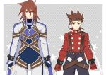 2boys belt black_pants bodysuit brown_hair buckle clenched_hand cowboy_shot gloves grey_background kratos_aurion lloyd_irving male_focus multiple_boys pants red_gloves red_shirt shirt spiky_hair star striped striped_background suspenders tales_of_(series) tales_of_symphonia tktg