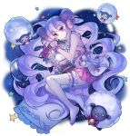 1girl :3 =_= absurdres babydoll bare_legs barefoot bell bell_collar bone bow candle collar curled_up curly_hair flower frilled_cuffs frilled_pillow frills from_side garter_straps highres holding_lantern horns huge_filesize knees_up lantern leaf long_hair looking_at_viewer original pillow purple_hair raised_eyebrows samnim sheep_horns skull skull-shaped_pupils solo star very_long_hair violet_eyes wax white_skin wide_oval_eyes wrist_cuffs