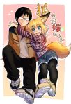 1boy 1girl absurdres animal_ears arms_around_neck black_hair black_legwear black_pants blue_eyes borrowed_character brown_footwear brown_jacket denim denim_shorts doitsuken flying_sweatdrops fox_ears fox_tail glasses heart highres jacket knee_up long_sleeves looking_at_viewer opaque_glasses original pants pantyhose pigeon-toed pink_background purple_sweater shirt shoes shorts simple_background sitting solo tail translation_request v-shaped_eyebrows white_shirt