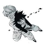 2boys black_hair blood blood_on_face carrying closed_eyes dirty dirty_clothes dragon_ball dragonball_z eyebrows_visible_through_hair injury long_sleeves looking_away lowres male_focus monochrome multiple_boys open_mouth rochiko_(bgl6751010) serious short_hair simple_background son_goten spiky_hair trunks_(dragon_ball) white_background
