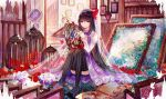 1girl akemi_homura bai_qi-qsr black_hair black_legwear bow bowtie cage convenient_leg dress eyebrows_visible_through_hair full_body gown hairband indoors long_hair looking_at_viewer mahou_shoujo_madoka_magica purple_dress purple_neckwear red_hairband sitting solo stuffed_animal stuffed_bunny stuffed_toy thigh-highs violet_eyes
