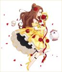 1girl adapted_costume beauty_and_the_beast belle_(disney) brown_eyes brown_hair chip_potts choker disney earrings elbow_gloves flower gloves hair_flower hair_ornament hakusai_(tiahszld) high_heels jewelry long_hair magical_girl mother_and_son mrs._potts mrs_potts objectification petals red_rose ribbon rose rose_petals simple_background staff white_background