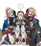1girl 2boys armor blonde_hair book brother_and_sister cape european_clothes female_my_unit_(fire_emblem_if) fire_emblem fire_emblem_heroes fire_emblem_if gloves grey_hair headband ichiyou_(kazuha1003) japanese_clothes leon_(fire_emblem_if) multiple_boys my_unit_(fire_emblem_if) pointy_ears ponytail red_eyes short_hair siblings takumi_(fire_emblem_if) white_hair