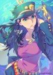 1girl artist_name belt black_jacket blue_background breasts bright_pupils chains cowboy_shot genderswap genderswap_(mtf) green_eyes green_hair hand_in_pocket hat hat_ornament highres jacket jojo_no_kimyou_na_bouken kotatsu_(g-rough) kuujou_joutarou large_breasts long_hair looking_at_viewer mouth_hold multicolored multicolored_background multiple_belts open_clothes open_jacket parted_lips peaked_cap pink_lips pink_shirt shirt solo standing stardust_crusaders v-shaped_eyebrows