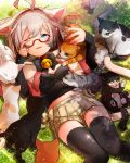 1girl ahoge bell bell_collar breasts cat cleavage collar ensemble_girls! glasses grey_eyes grey_hair kannazuki_hotori one_eye_closed pleated_skirt red-framed_eyewear skirt sparkle thigh-highs zettai_ryouiki