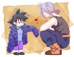 2boys :o bare_arms belt black_eyes black_hair black_shirt boots brown_background chinese_clothes closed_eyes crossed_arms dragon_ball dragonball_z expressionless happy heart jacket kneeling looking_down male_focus multiple_boys open_mouth pants purple_hair rochiko_(bgl6751010) shirt simple_background sleeveless smile son_goten spiky_hair tied_hair trunks_(dragon_ball) white_background