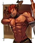 1boy abs black_neckwear bottle bow bowtie chest_tattoo dark_skin dark_skinned_male detached_collar highres horns ifrit_(tokyo_houkago_summoners) looking_at_viewer lvlv male_focus muscle nipples pointy_ears redhead shirtless solo tattoo tokyo_houkago_summoners toned toned_male tray wine_bottle