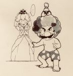 ... 1boy 1girl afro cappy_(mario) clown_wig dress facial_hair greyscale hat highres male_swimwear mario mario_(series) monochrome mustache nemurism nintendo nintendo_ead nipples party_hat princess_peach spoken_ellipsis super_mario_odyssey swim_trunks swimwear tiara tiara_(mario) traditional_media wedding_dress what wig