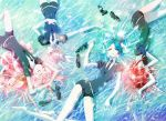 androgynous bare_legs black_neckwear black_shorts crystal_hair goshenite_(houseki_no_kuni) grass green_hair highres houseki_no_kuni loafers long_hair lying mercury morganite_(houseki_no_kuni) necktie official_art on_back phosphophyllite pink_hair redhead shinsha_(houseki_no_kuni) shirt shoes short_hair shorts uniform white_shirt