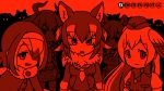 5girls animal_ears aurochs_(kemono_friends) bow bowtie buttons dodo_(kemono_friends) empty_eyes eyebrows_visible_through_hair fur_collar hair_between_eyes hair_over_one_eye hat head_wings horizontal_stripes horns japanese_wolf_(kemono_friends) kemono_friends light_smile long_hair long_sleeves looking_at_viewer midriff multicolored_hair multiple_girls navel necktie passenger_pigeon_(kemono_friends) red short_sleeves striped thylacine_(kemono_friends) trait_connection upper_body vostok_(vostok061) wolf_ears