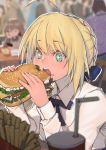 +_+ ahoge artoria_pendragon_(all) blonde_hair blue_bow blue_eyes blue_ribbon blurry blurry_background bow chair commentary_request cup dress eating eyebrows_visible_through_hair fate/stay_night fate_(series) food food_on_face french_fries hair_bun hair_ribbon hamburger holding holding_food lanzi_(415460661) ribbon saber short_hair sitting solo_focus white_dress