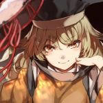 1girl blonde_hair detached_sleeves drum hand_rest hat instrument long_hair looking_at_viewer matara_okina no-kan orange_eyes smile solo touhou yellow_eyes