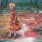 1girl aki_shizuha autumn barefoot blonde_hair blurry blurry_background brown_dress brown_skirt closed_eyes day dress from_side hair_ornament leaf_hair_ornament long_sleeves outdoors partially_submerged reflection roke_(taikodon) shadow short_hair skirt skirt_hold smile solo standing touhou wading water