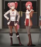 2girls :d anime_coloring bag bangs blush boots brown_eyes brown_gloves brown_jacket brown_legwear canadawbd choker commentary contrapposto crossover fur_trim gloves grey_jacket grey_legwear hair_between_eyes handbag highres holding_bag idolmaster idolmaster_cinderella_girls jacket jougasaki_mika knee_boots lipstick long_sleeves looking_at_viewer love_live! love_live!_school_idol_project makeup miniskirt multiple_girls neck_ribbon nishikino_maki one_eye_closed open_mouth outdoors pantyhose pink_hair purple_footwear purple_gloves purple_skirt red_choker red_lipstick red_skirt redhead ribbon shirt short_hair skirt smile standing twintails violet_eyes white_shirt