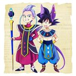 2boys arms_behind_back beerus beerus_(cosplay) black_eyes black_hair blue_eyes cosplay dragon_ball dragon_ball_z_kami_to_kami dragonball_z egyptian_clothes happy looking_at_another male_focus multiple_boys open_mouth purple_hair robe rochiko_(bgl6751010) simple_background smile son_goten spiky_hair staff trunks_(dragon_ball) whis whis_(cosplay) white_background