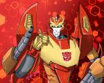 1boy artist_request autobot blue_eyes highres insignia looking_at_viewer machinery no_humans personification red_background rodimus smile solo thumbs_up transformers