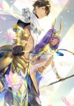 1boy 1girl :o bracelet breasts brown_hair cape character_name collar commentary_request dark_skin earrings ekita_xuan fate/grand_order fate_(series) grin hair_tubes highres holding hoop_earrings jewelry long_hair looking_at_viewer navel nitocris_(fate/grand_order) parted_lips pelvic_curtain purple_hair rider_(fate/prototype_fragments) small_breasts smile standing trait_connection violet_eyes white_cape yellow_eyes